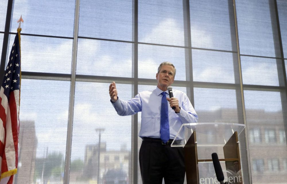 Former Florida Gov. Jeb Bush addresses employees at Emergent BioSolutions on May 28, 2015, in Lansing, Mich. (Carlos Osorio/AP)