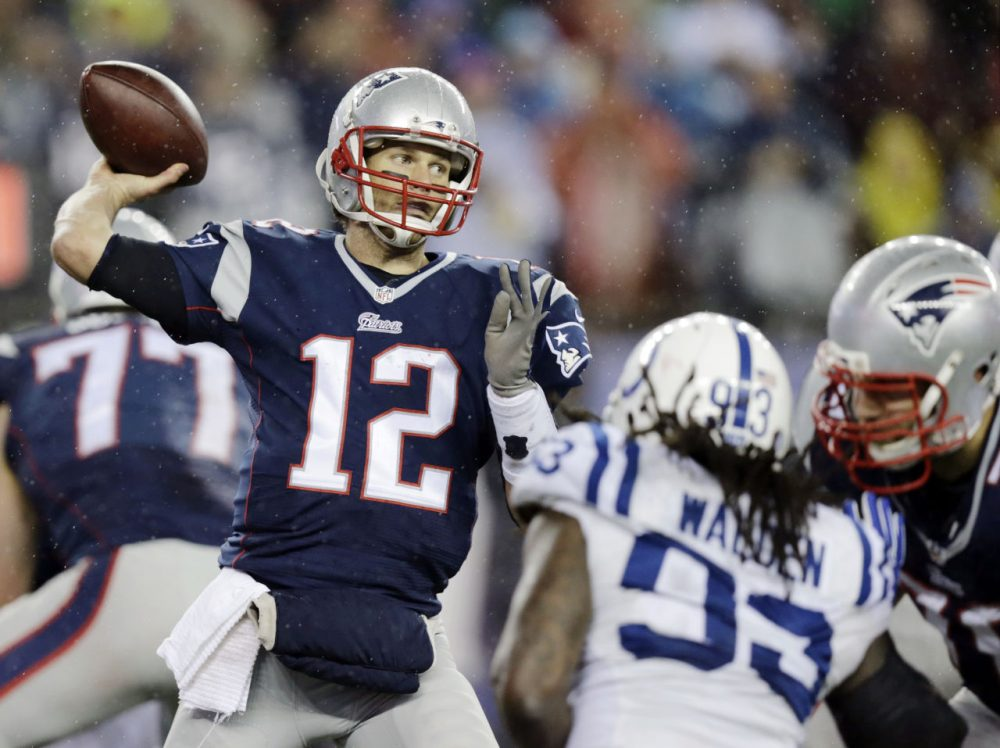 New England Patriots quarterback Tom Brady passes against the Indianapolis Colts during the AFC Championship game in Foxborough on Jan. 18. (Charles Krupa/AP)