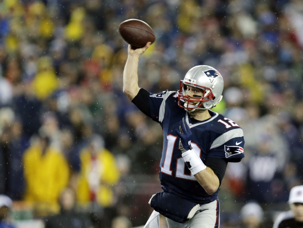 Tom Brady throws during the AFC Championship game against the Indianapolis Colts in January. (Charles Krupa/AP)