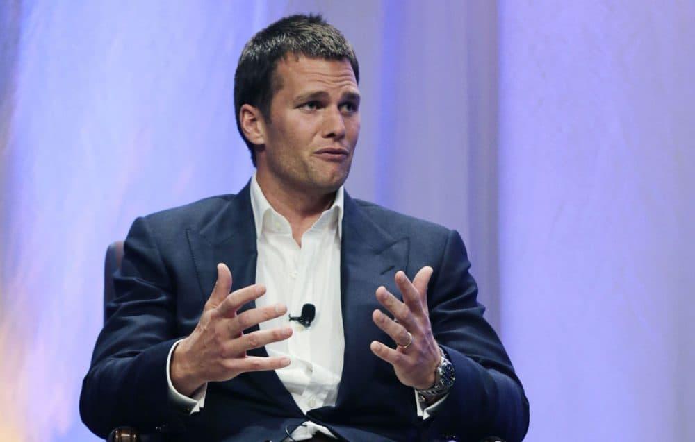 Patriots quarterback Tom Brady speaks during an event at Salem State University last week. (Charles Krupa/AP/Pool)