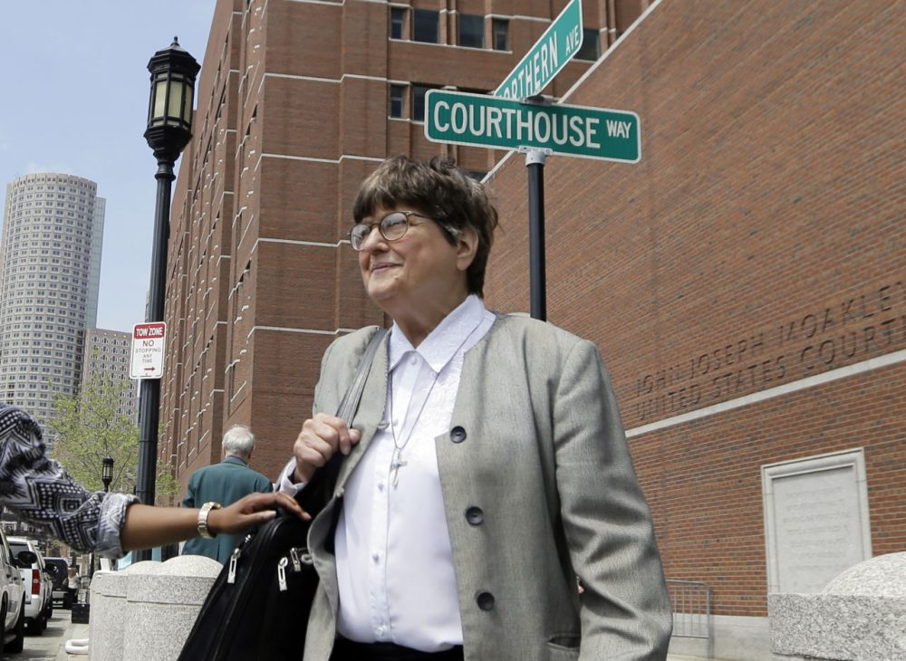 Death penalty opponent Sister Helen Prejean leaves federal court in Boston after testifying during the penalty phase in Dzhokhar Tsarnaev's trial Monday. (Elise Amendola/AP)