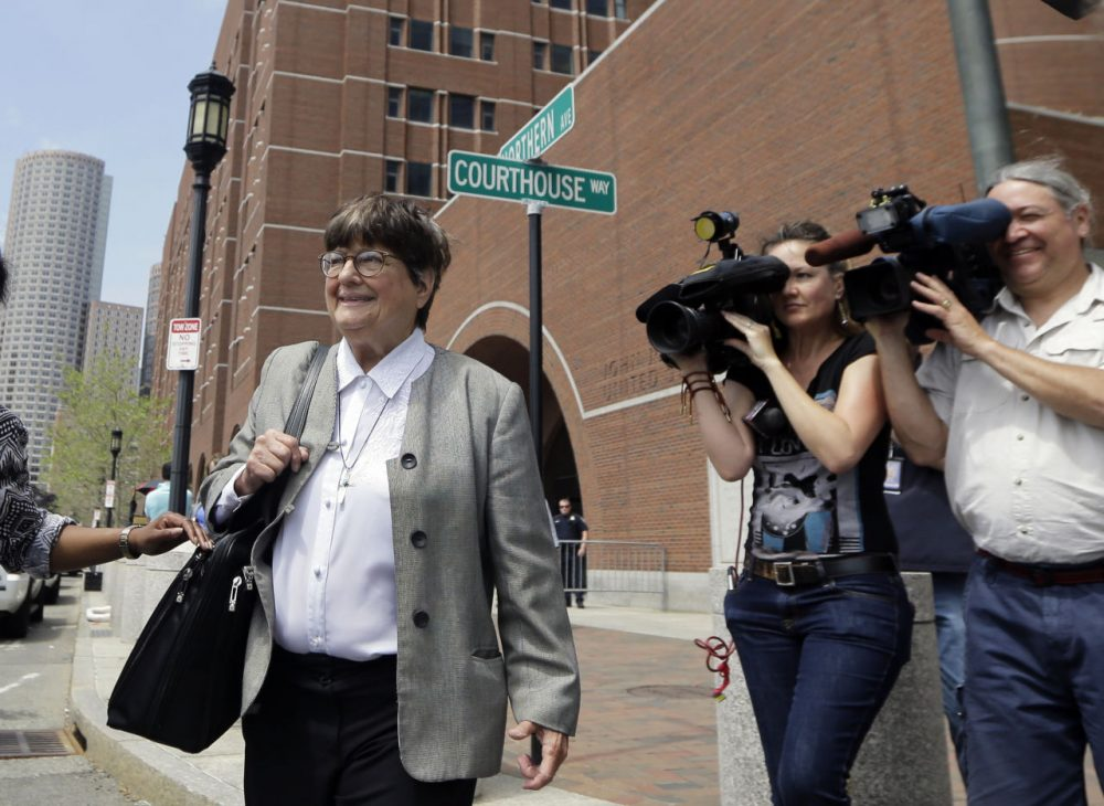 Death penalty opponent Sister Helen Prejean leaves federal court in Boston after testifying during the penalty phase in Dzhokhar Tsarnaev's trial. Tsarnaev's lawyers rested their case Monday in their bid to save him from execution after Prejean testified that Tsarnaev expressed genuine sorrow about the victims of the bombing. (AP Photo/Elise Amendola)