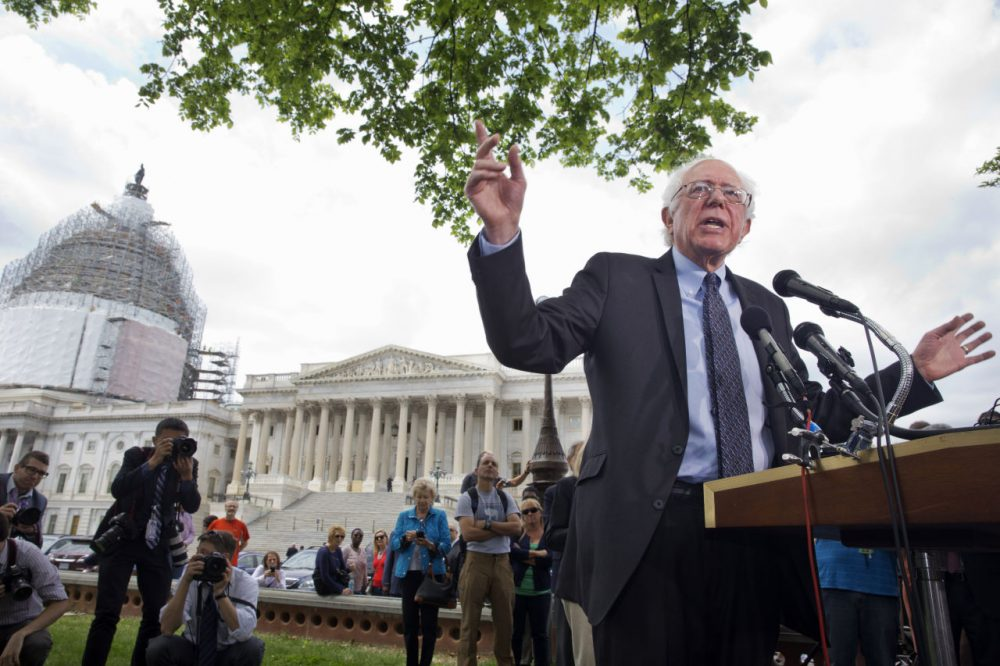 Sen. Bernie Sanders, I-Vt., speaks about his agenda in running for president, Thursday, April 30, 2015, on Capitol Hill. (Jacquelyn Martin/AP)