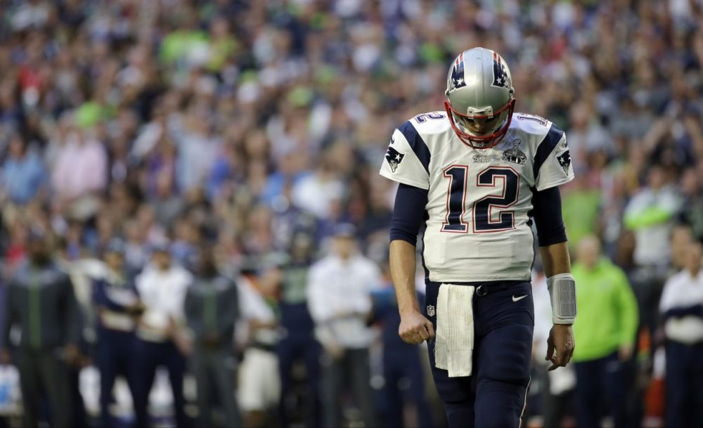 New England Patriots quarterback Tom Brady walks off the field after throwing an interception during the NFL Super Bowl XLIX against the Seattle Seahawks Sunday on Feb. 1, 2015, in Glendale, Ariz. (Matt Slocum/AP)