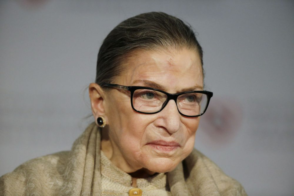 "Supreme Court Justice Ruth Bader Ginsburg was in Cambridge Friday to accept a Radcliffe Medal, which Harvard University's Radcliffe Institute awards annually to an individual who has had a ""transformative impact"" on society. (Stephan Savoia/AP)"