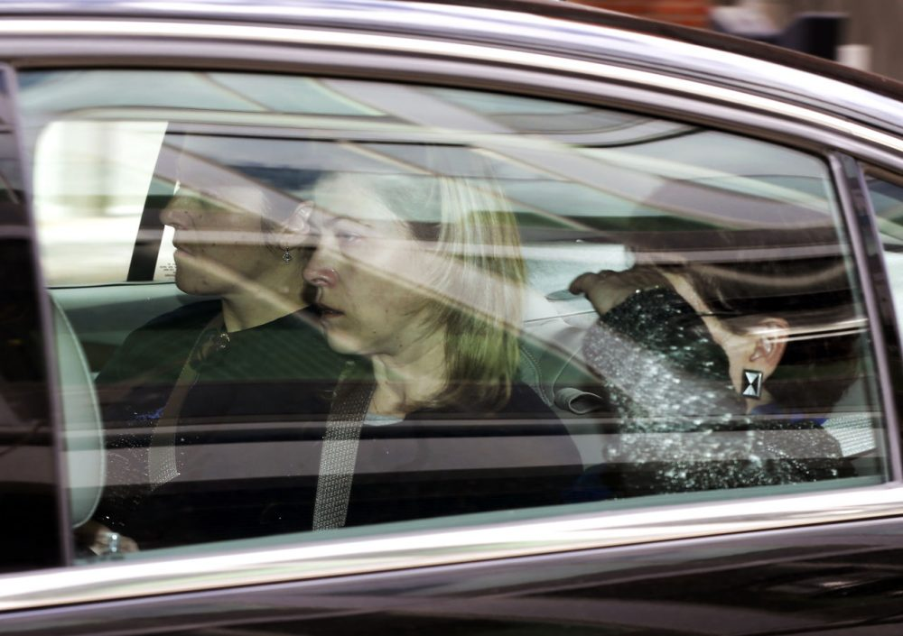 A car carrying some relatives of Dzhokhar Tsarnaev leaves federal court in Boston Monday. (Elise Amendola/AP)