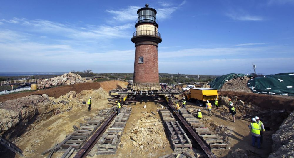 Workers moving the Gay Head Lighthouse, which settled into its new location Saturday, May 30, 2015. (Charles Krupa/AP)