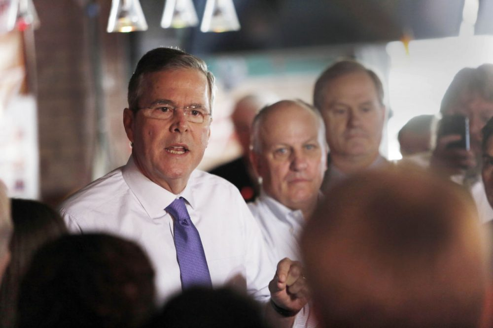 Former Florida Gov. Jeb Bush speaks to a morning crowd at the Draft restaurant in Concord, New Hampshire, Thursday. (Jim Cole/AP)