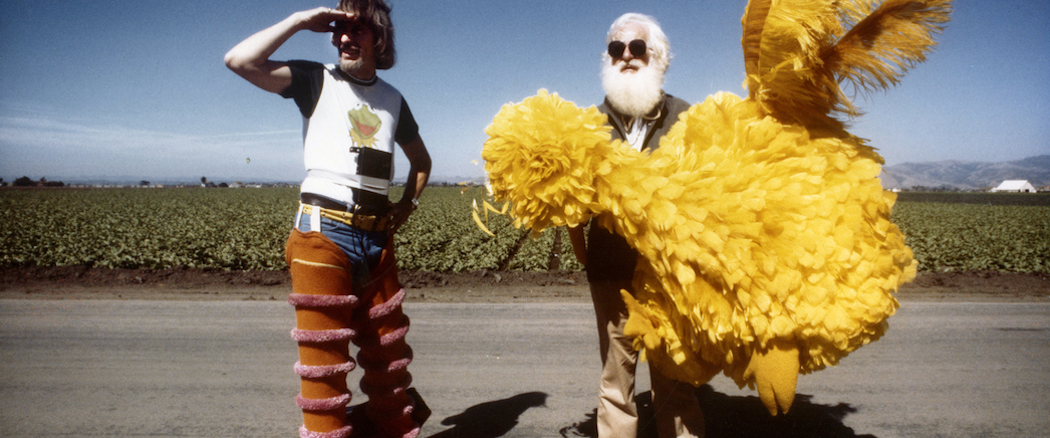 Archival photo of Caroll Spinney and Kermit Love on the set of a Sesame Street production. (Courtesy Debra Spinney)