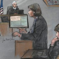 In this courtroom sketch, defense attorney Judy Clarke is depicted addressing the jury as defendant Dzhokhar Tsarnaev, right, sits during closing arguments in Tsarnaev's federal death penalty trial, Monday, April 6, 2015, in Boston. The federal jury ruled on Friday, May 15, that the 21-year-old Tsarnaev should be sentenced to death for his role in the deadly 2013 attack on the Boston Marathon. (Jane Flavell Collins/AP)