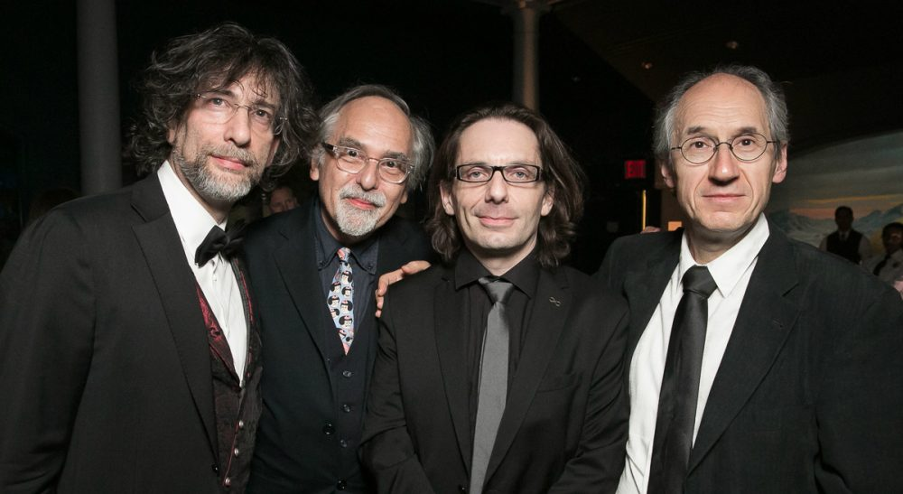 Both sides in the debate over Charlie Hebdo's Freedom of Expression Courage Award from PEN American Center embody free expression at its best – thoughtful people who strive for consensus but accept disagreement. Pictured: British author Neil Gaiman, from left, and American cartoonist Art Spiegelman, pose with Charlie Hebdo's critic-essayist Jean-Baptiste Thoret and editor-in-chief Gerard Biard, during the PEN Gala at the American Museum of Natural History in New York on May 5, 2015. Charlie Hebdo recieved the Freedom of Expression Courage Award. (Beowulf Sheehan/AP)