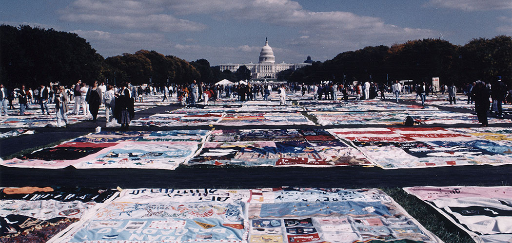 The AIDS Quilt runs along the National Mall toward the U.S. Capital building in Washington, D.C., in 1996. (The Names Project)