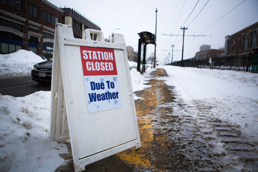 "Gov. Charlie Baker has proposed a ""resiliency plan"" for the MBTA that he hopes will help avoid a repeat of the winter's transit meltdown. Here, a Green Line stop on the B branch was closed after a February snowstorm. (Jesse Costa/WBUR)"