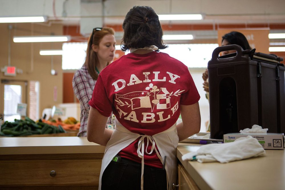 The Daily Table, a new nonprofit grocery store in Dorchester near Codman Square, sells surplus and aging food at a discount. (Jesse Costa/WBUR)