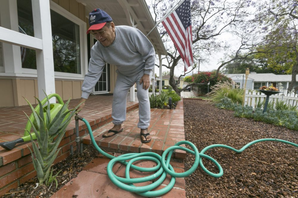 Raymond Aleman closes his water hose after watering his new drought-resistant garden at his home in the Studio City neighborhood in Los Angeles, Wednesday, May 27, 2015. (Damian Dovarganes/AP)