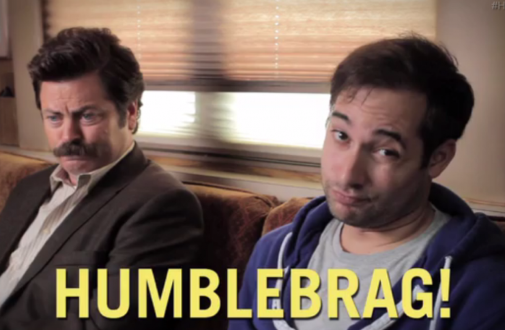 "Comedy writer Harris Wittels (right) coined the term humblebrag and wrote a book ""Humblebrag: The Art of False Modesty"" based on his @humblebrag Twitter account. (Screenshot from the book's trailer)"
