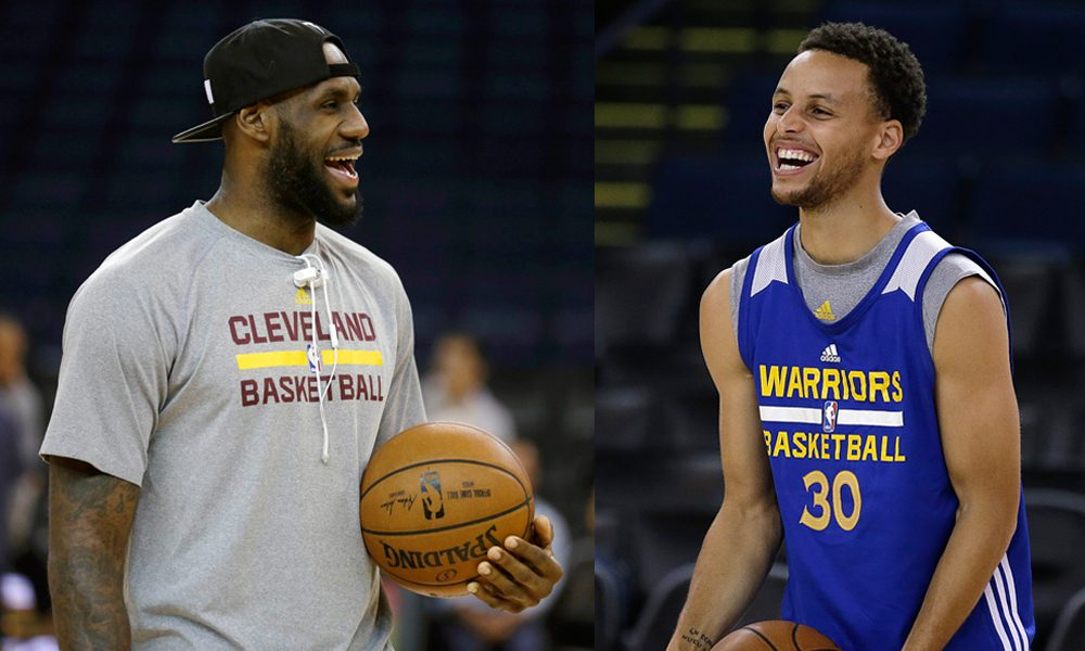 A composite of LeBron James (left) and Stephen Curry (right) in their team's practices Wednesday in Oakland, California. Curry and the Golden State Warriors host James and the Cleveland Cavaliers in Game 1 of the NBA Finals on Thursday. (Ben Margot/AP)