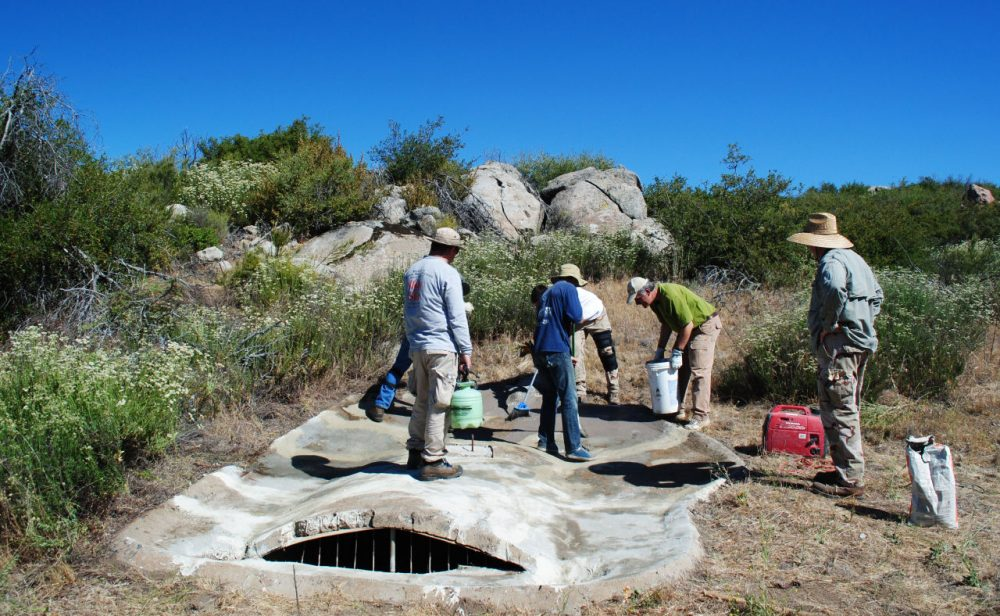 Members of Quail Forever San Diego, a habitat restoration and conservation group, repair a guzzler in 2013.