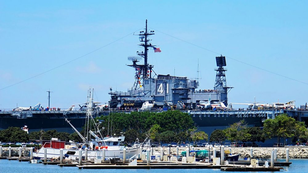 The USS Midway sits in San Diego Harbor in San Diego, California. The ship was decomissioned after Operation Desert Storm in the 1990s, and now serves as a floating museum. (Al_HikesAZ/Flickr)
