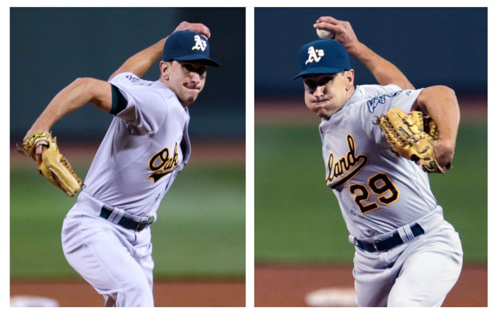 In this two image combination, Oakland Athletics relief pitcher Pat Venditte (29) delivers with his left and right hand to separate Boston Red Sox batters during the seventh inning at Fenway Park in Boston, Friday, June 5, 2015. (AP Photo/Charles Krupa