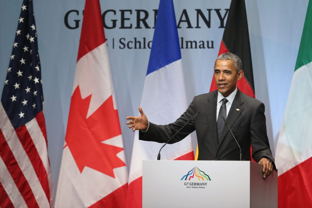 President Barack Obama speaks to the media at the conclusion of the summit of G7 nations at Schloss Elmau on June 8, 2015 near Garmisch-Partenkirchen, Germany. (Sean Gallup/Getty Images