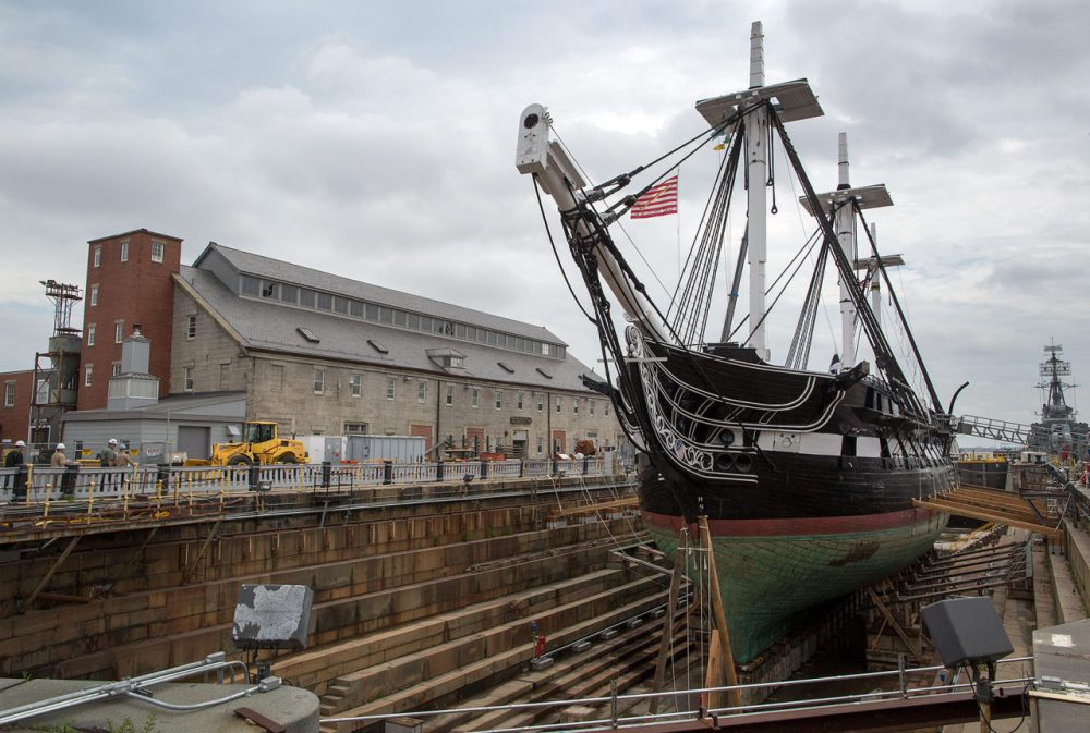 The USS Constitution in dry dock in the Charlestown Navy Yard.  (Robin Lubbock/WBUR)