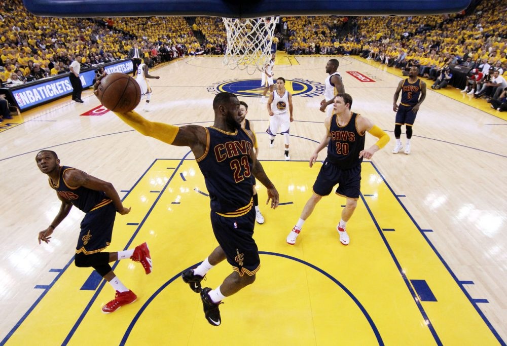 LeBron James #23 of the Cleveland Cavaliers rebounds against the Golden State Warriors in the first half during Game Two of the 2015 NBA Finals at ORACLE Arena on June 7, 2015 in Oakland, California.  (Ezra Shaw/Getty Images)
