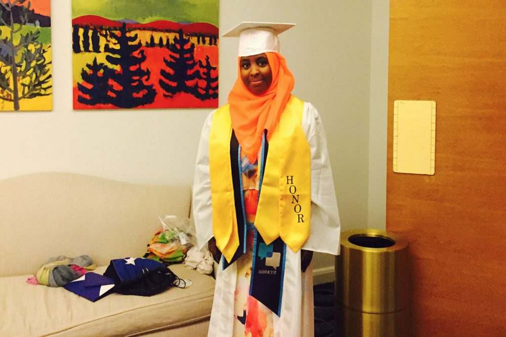 Fatuma Mohamed, on graduation day (Delores Handy/WBUR)