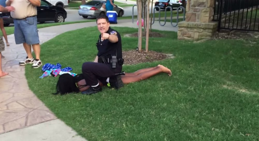 Rebecca Steinitz: A group of teenagers can be a powder keg, which an adult can light -- or not. In this video screenshot, police officer Eric Casebolt pushes a teenage girl to the ground. (youtube)