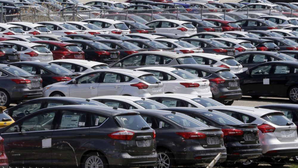 Ford Focus vehicles are seen on a storage lot on Friday, May 1, 2015 in Ypsilanti, Mich. (Carlos Osorio/AP)