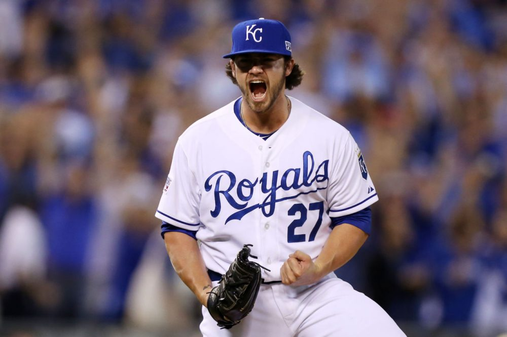 At 21, Brandon Finnegan became the first player in baseball history to pitch in the College World Series and MLB World Series in the same year. (Ed Zurga/Getty Images)