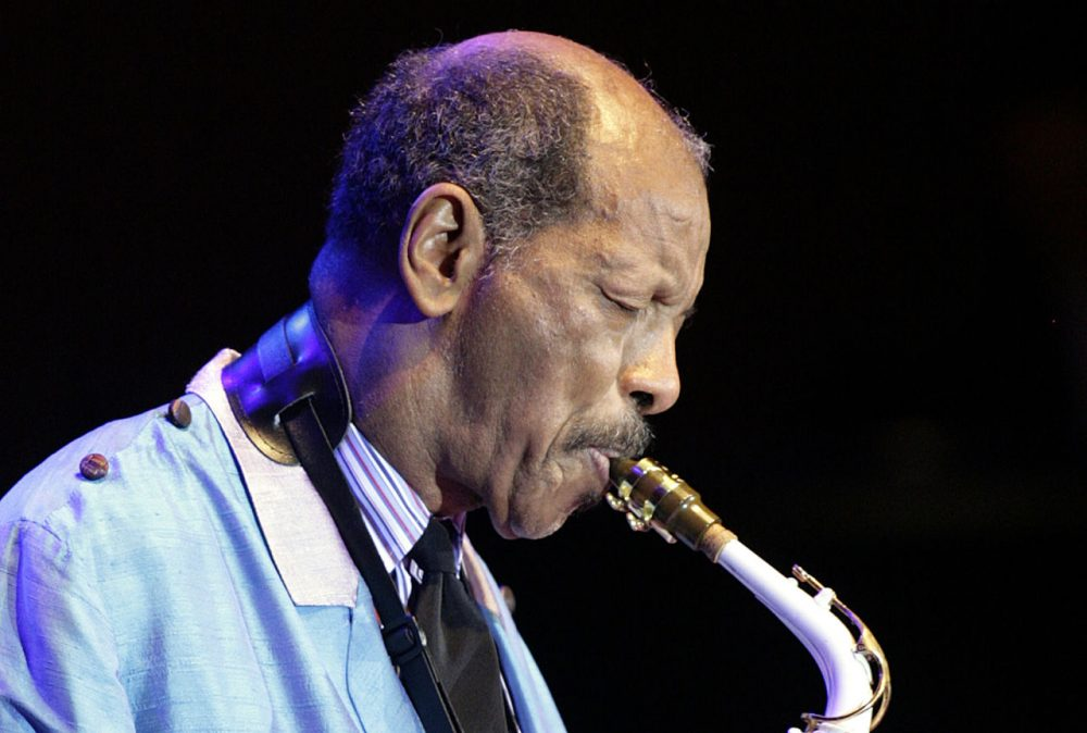 U.S. Jazz legend Ornette Coleman, right, plays the sax during his only concert in Germany at the philharmonic concert house in Essen, Germany, Wednesday, Feb. 14, 2007. (Martin Meissner/AP)