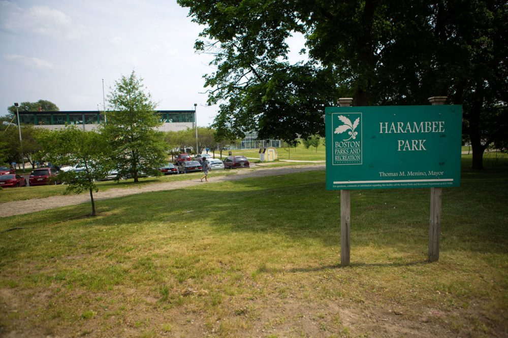 Harambee Park, on the corner of Blue Hill Avenue and Talbot Avenue, is seen last month. The park is the site of the historic Sportsmen's Tennis & Enrichment Center. (Jesse Costa/WBUR)