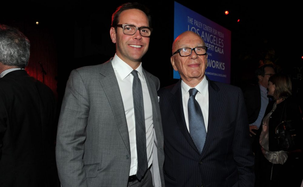 From left, James Murdoch, Deputy COO, Chairman and CEO Intl. 21st Century Fox and Rupert Murdoch, Chairman and CEO of 21st Century Fox, attend the 2013 Benefit Gala Honoring FX Networks with the Paley Prize for Innovation and Excellence on Wednesday, October 16, 2013 in Los Angeles. (Frank Micelotta/Invision for FX Networks/AP)
