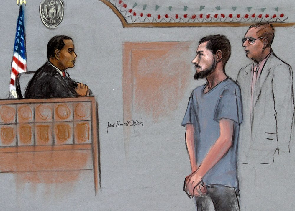 In this courtroom sketch, Nicholas Rovinski, second from right, of Warwick, R.I., is depicted standing with his attorney William Fick, right, as Magistrate Judge Donald Cabell presides during a hearing in federal court in Boston. (Jane Flavell Collins via AP)