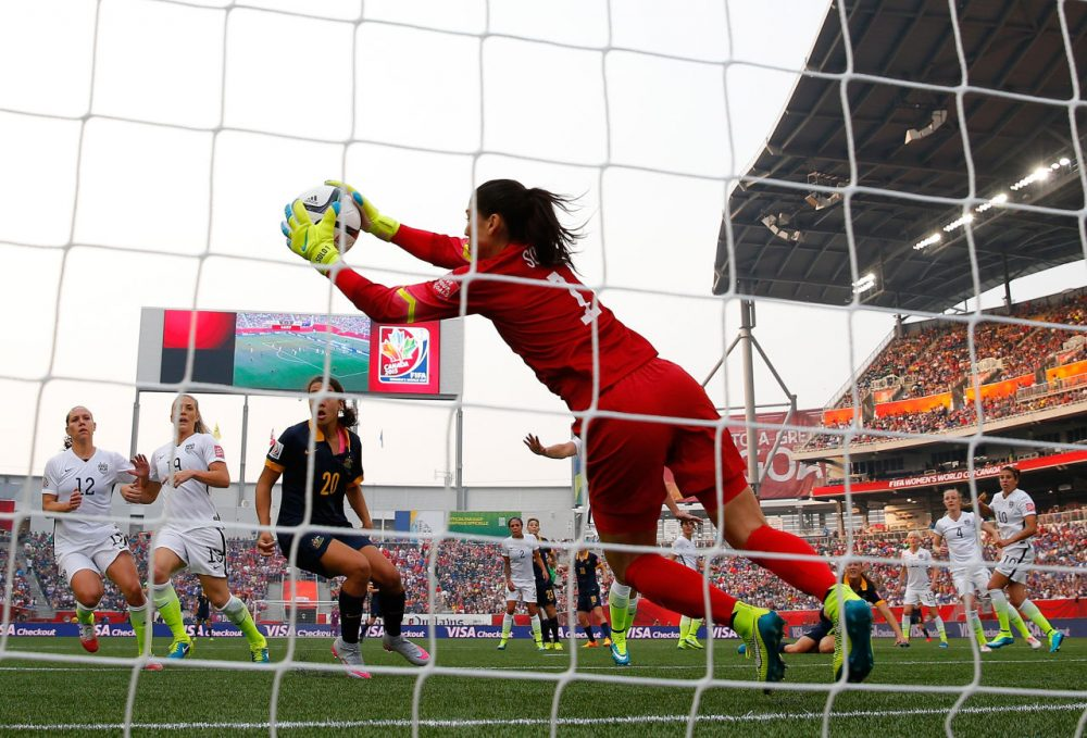 Goalkeeper Hope Solo #1 of United States makes a save in the first half against Australia during the FIFA Women's World Cup 2015 Group D match at Winnipeg Stadium on June 8, 2015 in Winnipeg, Canada. (Kevin C. Cox/Getty Images)