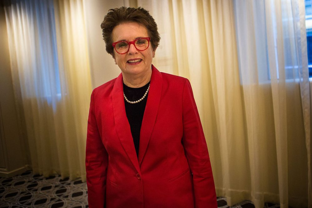 Billie Jean King, a former World No. 1 women's tennis player, started the Women's Sports Foundation, which is dedicated to promoting athletic opportunities for girls and women and is the founder of the Billie Jean King Leadership Initiative to address diversity issues in the workplace. (Jesse Costa/WBUR)