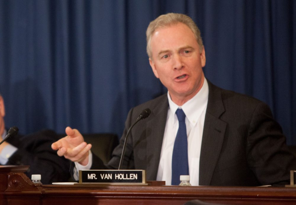Ranking committee member Rep. Chris Van Hollen (D-MD) speaks during a U.S. House Budget Committee markup on the Concurrent Resolution on the Budget for FY 2016 on Capitol Hill in Washington, D.C. (Allison Shelley/Getty Images)