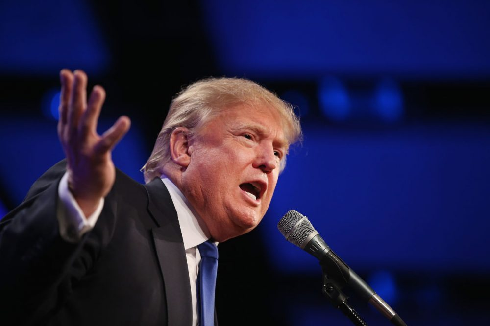 Businessman Donald Trump speaks to guests gathered for the Republican Party of Iowa's Lincoln Dinner at the Iowa Events Center on May 16, 2015 in Des Moines, Iowa. (Scott Olson/Getty Images)