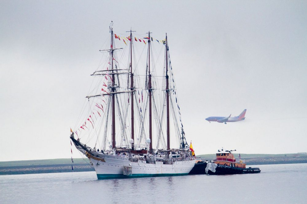 Spain's Juan Sebastian de Elcano, the third-largest tall ship in the world, will be docked at the Charlestown Navy Yard this week. (Jesse Costa/WBUR)