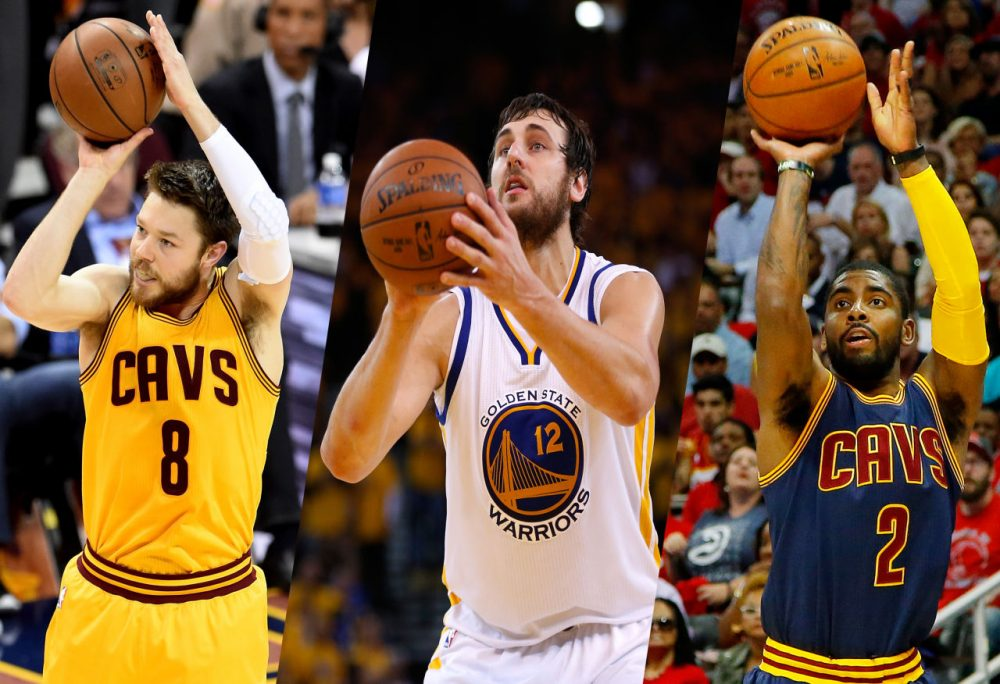 Matthew Dellavedova, Andrew Bogut and Kyrie Irving (left to right) are Australian citizens. (Getty Images)