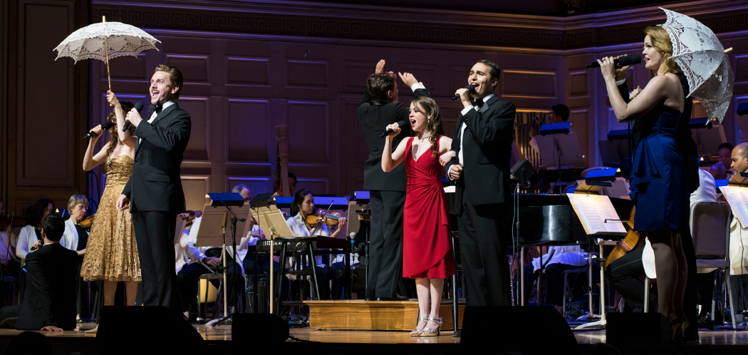 Jason Danieley (left) and Kate Baldwin (far right) perform with Keith Lockhart and the Boston Pops. (Liza Voll)
