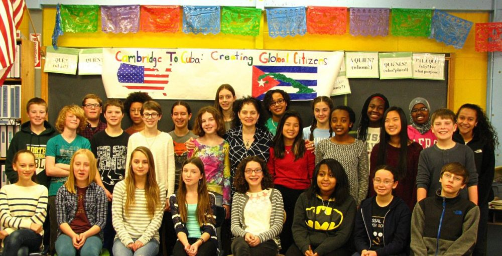 A group of seventh graders at Vassal Lane Upper School in Cambridge travels to Cuba Saturday. Most of the students are pictured above. The trip was organized by the school's Spanish teacher,  Oksana Deinak-Pingitore, center, who is originally from Cuba. (Courtesy of Vassal Lane Upper School)