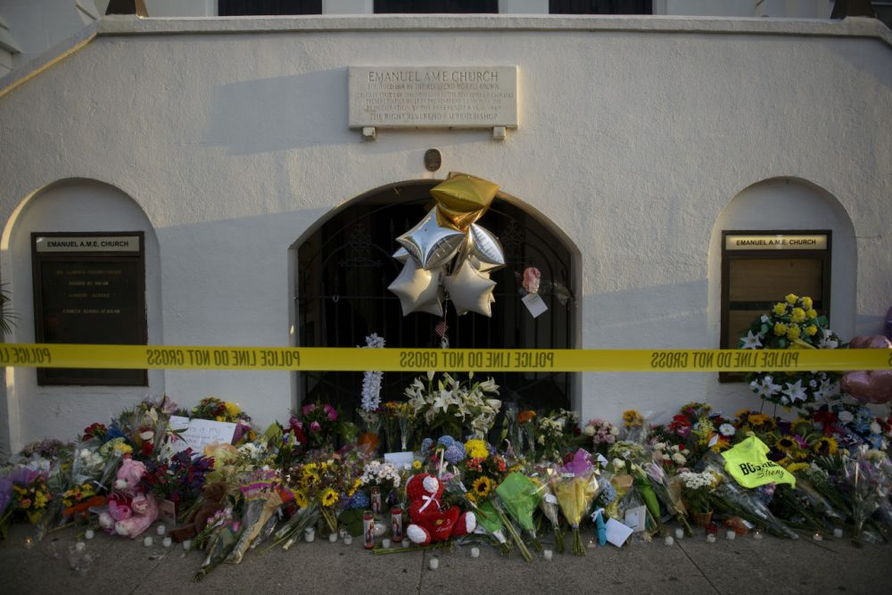 A morning view of a memorial outside the Emanuel AME Church June 19, 2015 in Charleston, South Carolina. (Brendan Smialowski/AFP/Getty Images)