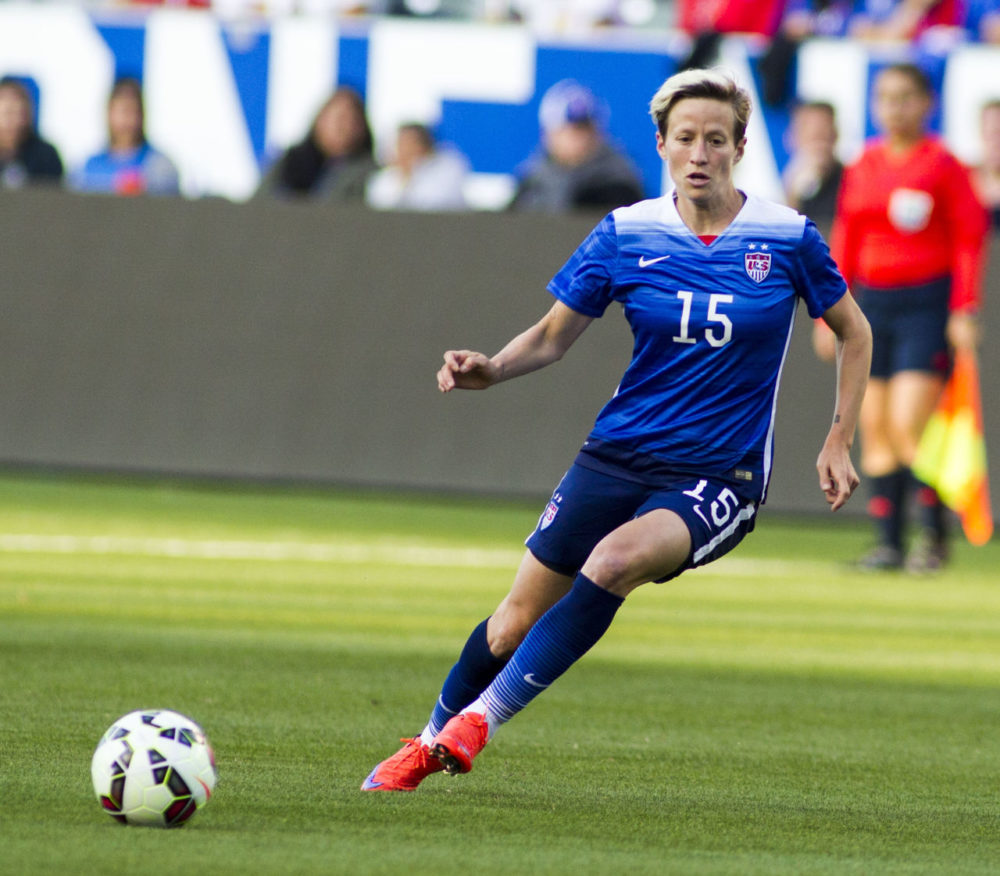 The United States' midfielder Megan Rapinoe #15 iduring a soccer friendly match against Mexico, in May in Carson, Calif. The U.S. won 5-1. (Ringo H.W. Chiu/AP)