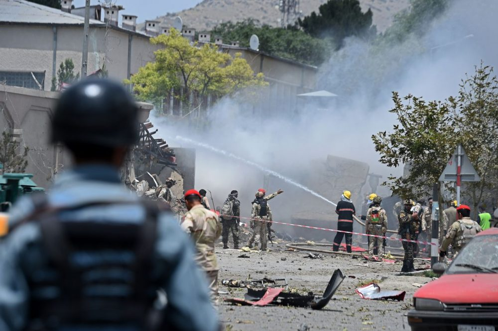 Afghan firefighters work to put out a fire at the site of a suicide an attack on the Afghan parliament building in Kabul on June 22, 2015. Taliban militants attacked the Afghan parliament on June 22, with gunfire and explosions rocking the building, sending lawmakers running for cover in chaotic scenes relayed live on television. The insurgents tried to storm the complex after triggering a car bomb but were repelled and have taken position in a partially-constructed building nearby, officials said about the ongoing attack. All MPs were safely evacuated after the attack, which came as the Afghan president's nominee for the crucial post of defence minister was to be introduced in parliament. (Wakil Kohsar/AFP/Getty Images)