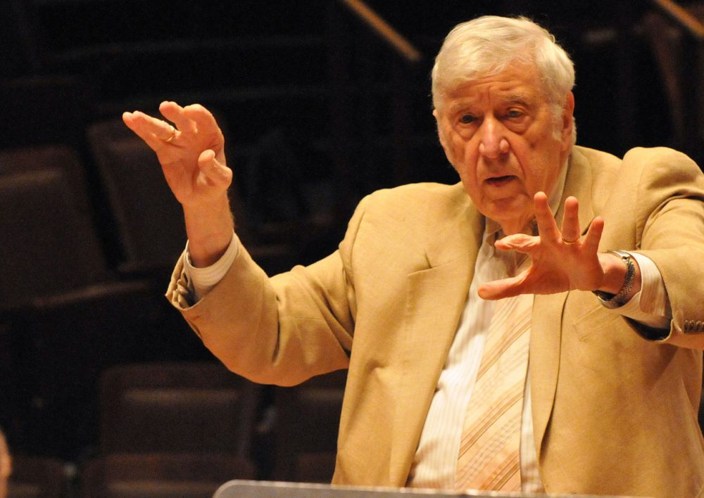Gunther Schuller conducts at Jordan Hall in Boston, Massachusetts. (Courtesy of the Boston Symphony Orchestra)