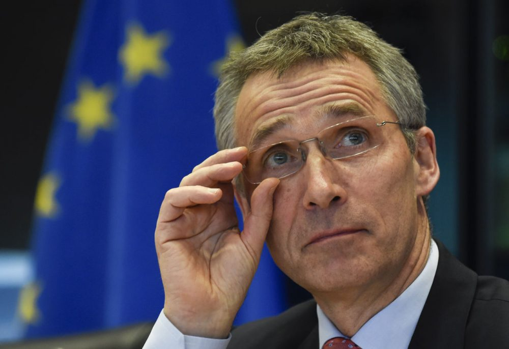 NATO Secretary General Jens Stoltenberg adjusts his spectacles during a debate of the European Parliament Foreign Affairs Committee and its Subcommittee on Security and Defence, in Brussels on March 30, 2015. (John Thys/Getty Images)