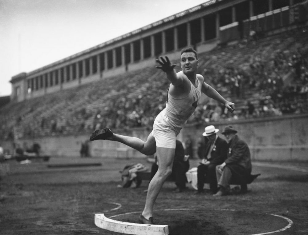 Leo Sexton, of the New York Athletic Club, shot-puts at Harvard Stadium, in Cambridge on June 17, 1932. The venue has been tapped for Olympic archery, if Boston is chosen to host the 2024 Summer Games. (AP)