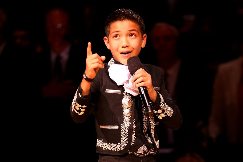 Sebastien De La Cruz, 12, performs the national anthem prior to Game Two of the 2014 NBA Finals between the San Antonio Spurs and the Miami Heat at the AT&T Center on June 8, 2014 in San Antonio, Texas. (Andy Lyons/Getty Images)